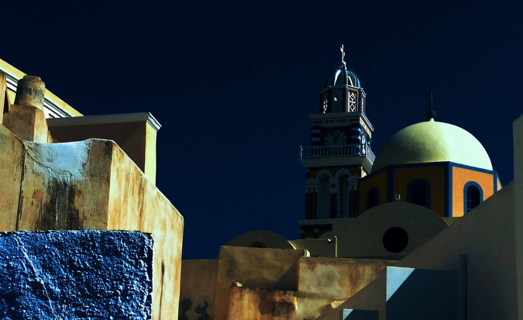 1176px Church And City Walls, Santorini, Greece Day For Night